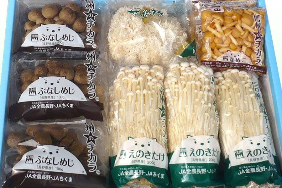 JAながの(ちくま)きのこセット 4品種(合計14袋入り)